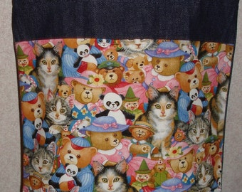 New Medium Handmade Kitties Kitty Cats & Toys Denim Tote Bag
