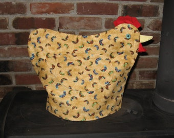Chicken Tea Cozy - feather fabric
