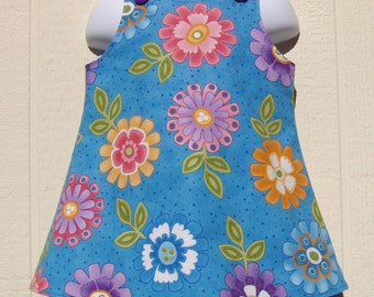 Big Flowers on Turquoise A Line  Dress Size 12 Months
