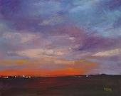 Cape May Sunset Landscape 8x10 Original Pastel Painting orange,stormy sky