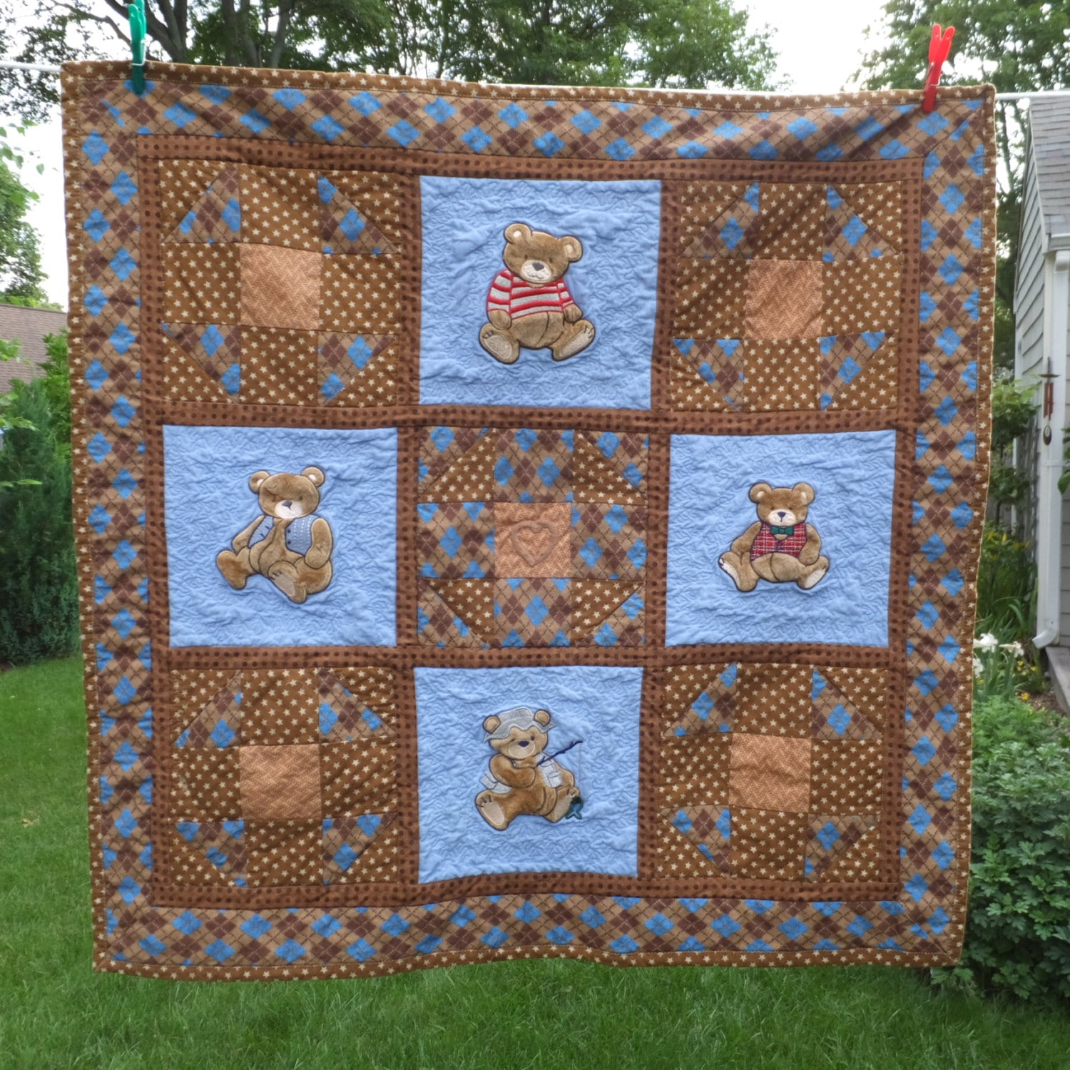 Baby Boy Quilt Homemade Baby Quilt Baby Bedding Patchwork