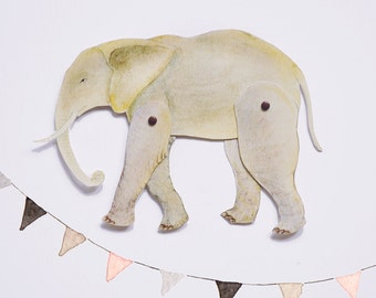Elephant Articulated Paper Doll Printable Instant Download PDF