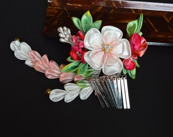 Bridal Plum and Holly Kanzashi Wedding. Pink white and red clip. Made to order.