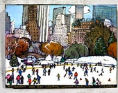 Print On Canvas Giclee Central Park, NYC, Winter Skyline Snow Landscape Cityscape Scene, Wollman Skating Rink, PJ Cobbs Arts,