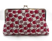 SALE: Pink Clutch Purse, African print clutch, Pink Circles Purse, Wedding Accessory, Pink and White clutch purse, Polka Dots