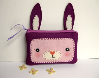 Plum Bunny Zipper Pouch
