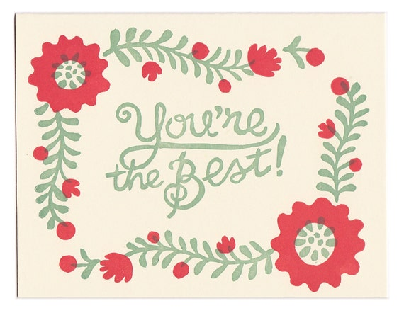 You're The Best - block printed greeting cards - set of five