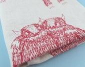 Pink Monster Tea Towel