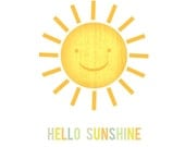 "Hello Sunshine, 8 x 10"" archival print of original illustration by Anna Tillett Designs"