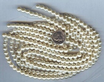 "6mm Elegant Vanilla Glass Pearls 15.5""  70 plus pcs"