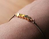Enid Bracelet - minimal modern disc round geometric gold brass simple everyday minimalist chain
