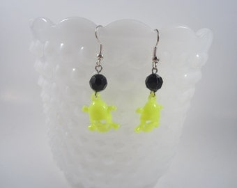 Neon Yellow Skull and Crossbones Earrings - Punk - Rocker - Rockabilly - Pin Up Jewelry