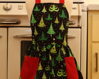 Vintage Inspired Christmas Trees on Black Full Apron for Little Girls