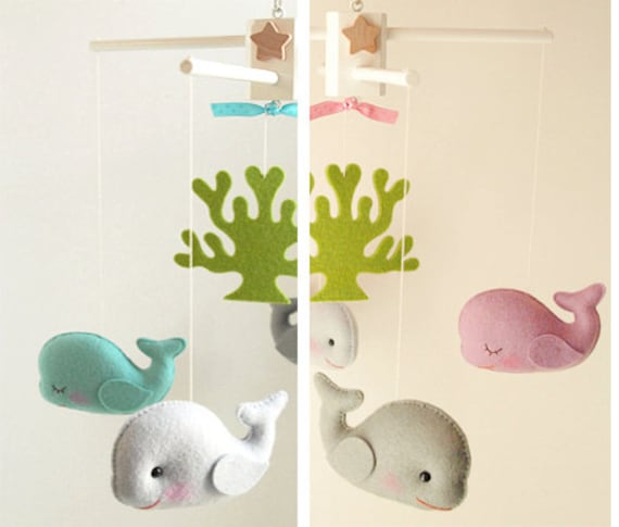For ashley seahorses starfish artist choice colors ocean for Sea animal baby mobile
