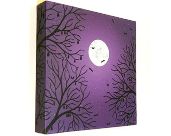 Moonlit Bats original canvas painting - acrylic art of a full moon in a purple night sky with the silhouette of trees and bats