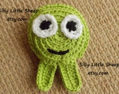 Toy - green monster, crocheted and stuffed for children, babies and toddlers