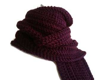 Solid Purple Scarf Aubergine Crochet Men Unisex GABLE Ready to Ship
