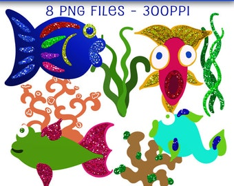 Fish Clip Art, Glitter Fish Clip Art Set, Sea Plants and Fish Clipart Set, Fish Clip Art, Fish Graphics, Digital Downloads, Cute Clip Art