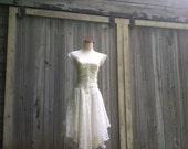 SALE Vintage Nuance Fairy Pixie White Lace Dress