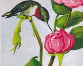 Ruby Throat Hummingbird and Rose Thinking of You Greeting Card