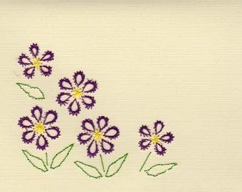 Handmade Pin Prick Embroidery Purple Flowers Blank Greeting Cards Set