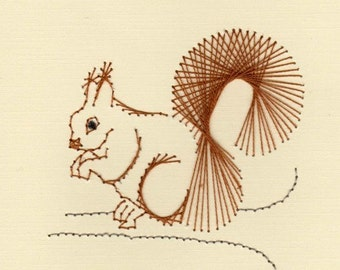 Squirrel on A Limb Hand Embroidered Blank Greeting Cards Set