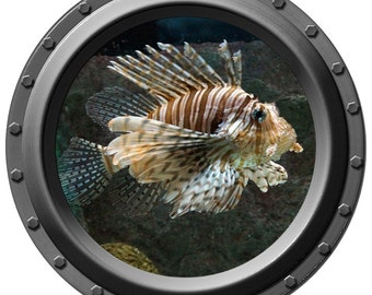 Red Lionfish Porthole Wall Decal