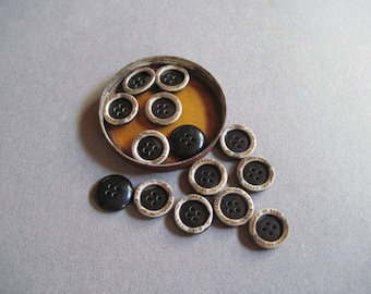 Black Button With Earthy Wood Rim,Set of 14,Small Black and Brown Buttons,New Old Stock,Vintage Seventies,Vintage Black Buttons