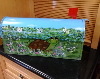 Hand Painted Turtle Themed Mailbox Maiboxes Handpainted