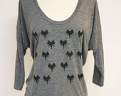Foxy gray slouchy long sleeved top