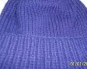Hand knit organic merino wool yarn man's women's hat cap beanie watchcap navy blue indigo large cuffed