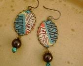 Sweet Enough - Vintage Hersheys Chocolate Hand Cut Graphic Tin Bezels Swarovski Pearls Recycled Repurposed Jewelry Earrings