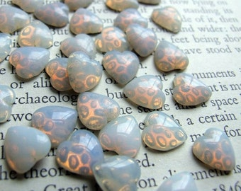 Vintage opalescent glass heart cabochons