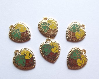 Vintage brass enamel heart charms