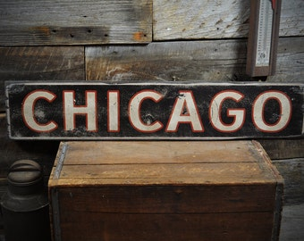 Chicago Sign, Chicago Wood Sign, Chicago Decor, Old Chicago Decor, Chicago Wall Decor, Chicago Mancave - Rustic Hand Made Wooden ENS10002244