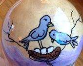 "Hand-Painted Gourd Christmas Ornament by artist Sandy Short. ""Two birds and a nest""."