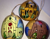 """Hand-Painted Gourds set of 3 Christmas Ornament Sandy Short """"Loretto Chapel,St. Francis of Assisi, San Miguel, Santa Fe, NM """""""