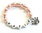 Princess Party Favor Name Bracelet Personalized Name Bracelet with Crown Charm Children Kid Adult Sizes Princess Pink Name Bracelet