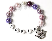 Personalized Princess Party Favors Princess Sofia Sophia the first 1st inspired Purple Pearl crown tiara charm. Name Bracelet Party Favor