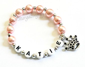 Princess Party Favor Name Bracelet Personalized Name Bracelet with Crown Charm Children Kid Adult Sizes Princess Pink Name Bracelet