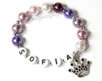 Purple Princess Party Favors Princess Sofia, Sophia the first 1st inspired, Purple Pearl crown tiara charm. Name Bracelet Party Favor