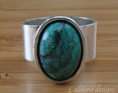 Chrysocolla Ring. Chrysocolla Cabochon Ring. Blue Green Ring. Healing Stone. Silver Adjustable Ring