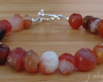 Red Agate Bracelet. Pebble Bracelet. Multicolor Bracelet. Agate Jewelry. Orange Bracelet.