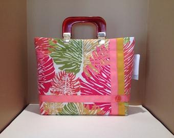 Alfred Shaheen fabric handbag, one of a kind purse, Handmade Handbag, Summer purse, large handbag, Lilinoe Handbags, Made in Hawaii purse