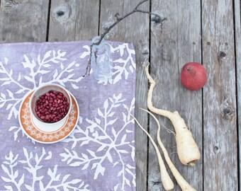 silver purple linen batik tea towel