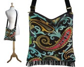 Black Crossbody Hobo Bag, Boho Sling Bag, Hippie Bag Boho, Cross Body Fringe Purse, Paisley Tapestry Bag, red yellow blue RTS