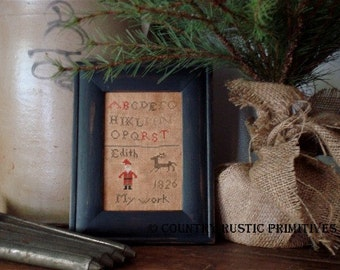 Primitive Edith's Christmas Schoolgirl Sampler Cross Stitch E Pattern PDF