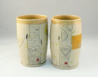 Two Personalized Cups, Pottery Vases, Couples Wedding Gift, Aspen Tree Art, Colorado Pottery, Anniversary Gift, Pencil Holder, Toothbrush