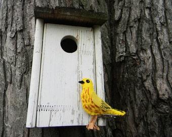 felt bird Yellow Warbler Ornament,embroidered, Home Decor
