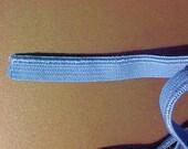 ELASTIC 3/8 Pastel BLUE or BEIGE Satin Stitched Edge 5 yds. Headbands Straps